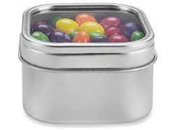 4 oz Square Tin Container with Clear Top Slip on Lid