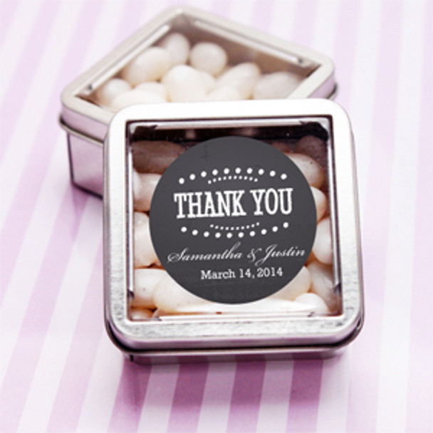 Square Tin with Clear Top Cover party favor with chalkboard label