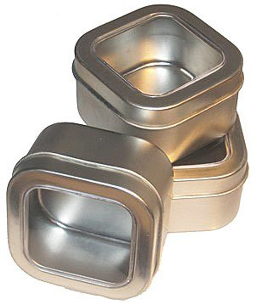Nakpunar 8 oz Square Deep Container Tin with Clear Top Cover