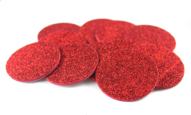 Red Glitter Adhesive Foam Circles
