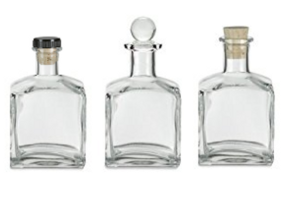 Square corked bottle with cork, glass stopper, synthetic t-bar closure
