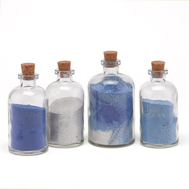 8.5 oz Boston Round Glass Bottle with Natural Cork, Glass or T-Bar Stopper (250 ml)