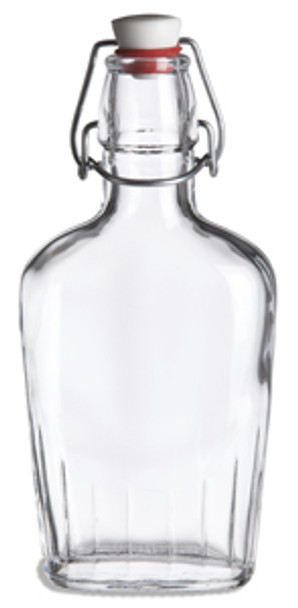 8.5 oz (250 ml) Flask Clear Glass Bottle with Swing Top