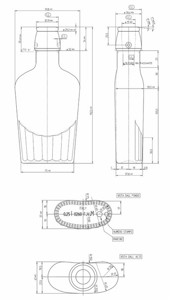 Technical Drawing of 8.5 oz (250 ml) Flask Clear Glass Bottle with Swing Top