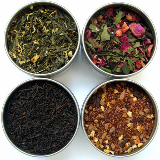4 oz round tea tin with crystal clear lid for herb and spices