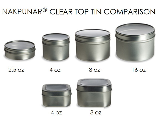 Set of 6, 4 oz Tin Container w/ Clear Top Cover
