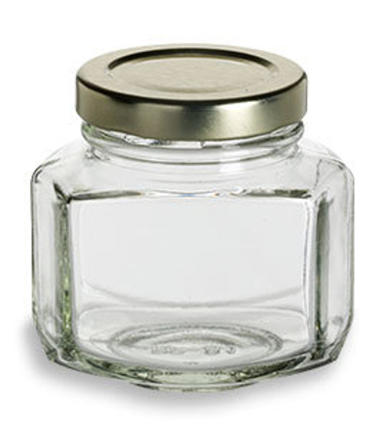 3.75 oz (110 ml) oval hexagon glass jars for sale with gold lids.