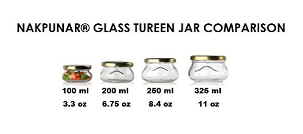 6.75 oz Tureen Glass Jars with Gold or Back Lid