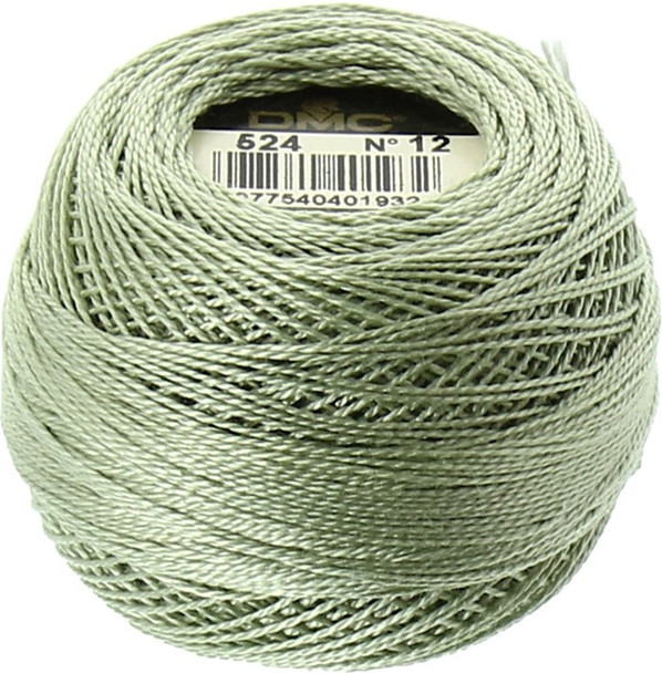 DMC Perle Cotton Thread Ball | Size 12 | 524 V Lt Fern Green (116 12-524)