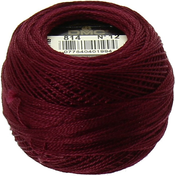 DMC  Perle Cotton Thread Ball | Size 12 | 814 Dk Garnet