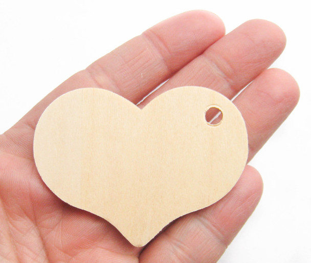 Unfinished Wooden Heart Cutout Tag Cutout