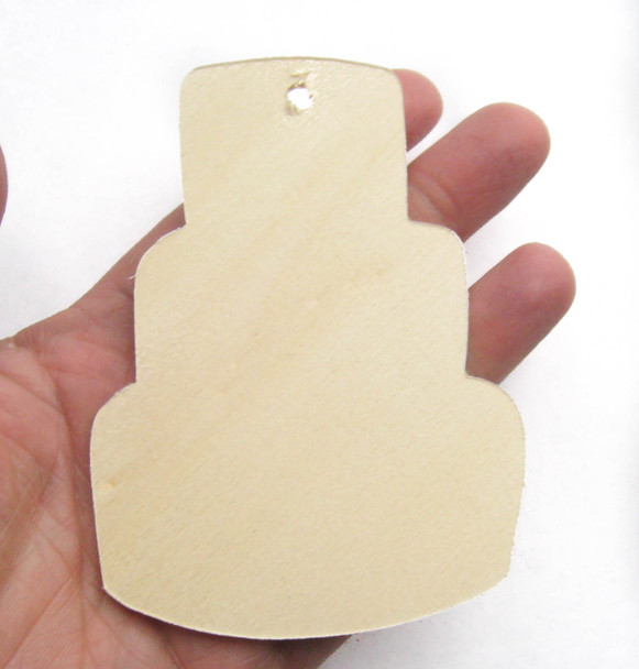 Wooden tag, birthday cake, 3 tier, ornament, diy craft, gift wrapping