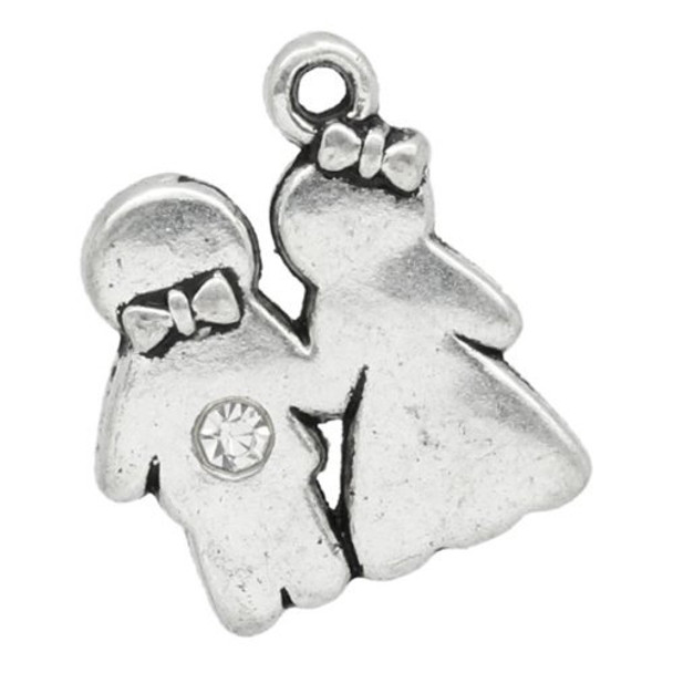 Tibetan Silver style alloy metal bride and groom wedding charm, pendants.
