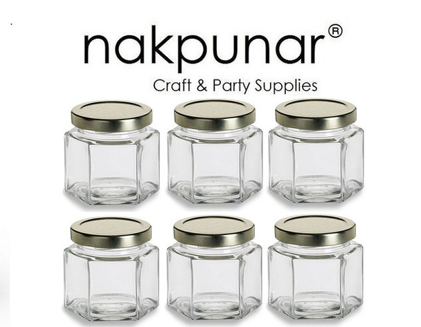 4 oz (120 ml) Hexagon squad Glass Jar for Sale with plastisol lined Gold Lid