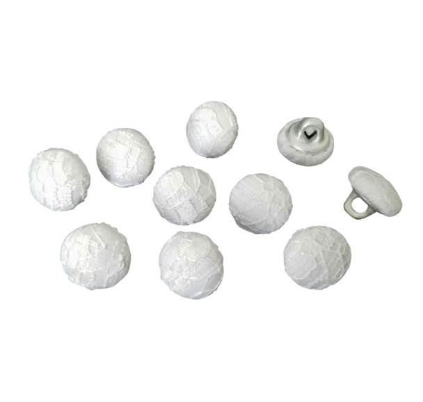 "Nakpunar White Lace buttons. 10 pcs 7/16"" 11.5 mm wide with metal shank button"