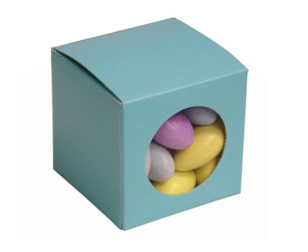 """Nakpunar Robin Egg Blue Favor Boxes with Clear Window - Set of 10 - 2""""x2""""x2"""""""