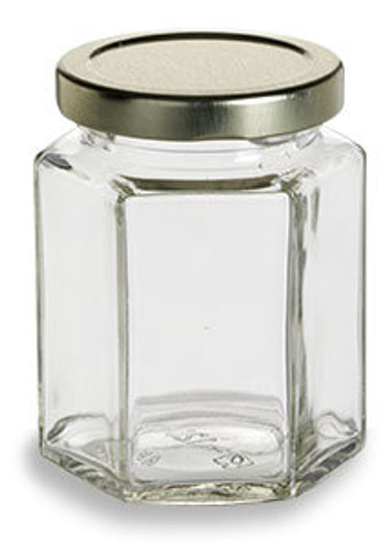 9 oz (270 ml) Hexagon Glass Jar for sale with plastisol lined gold Lid