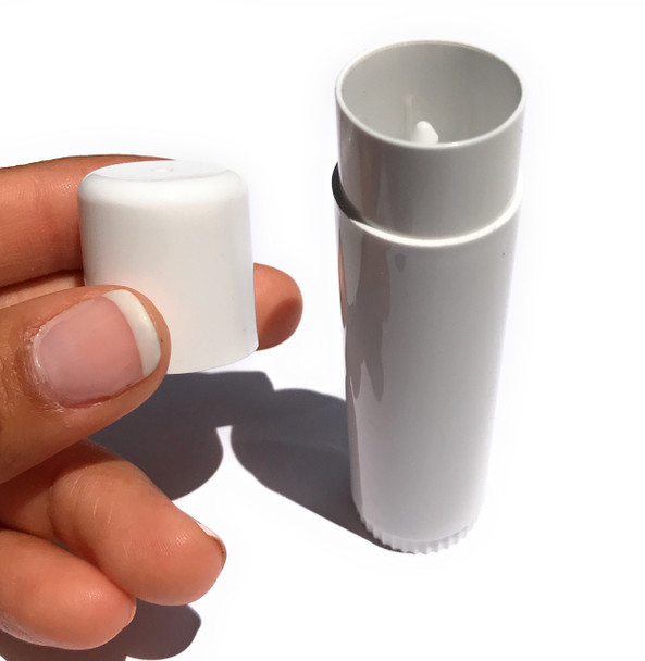 20 pcs 0.50 oz White Lip Balm Tube with Cap