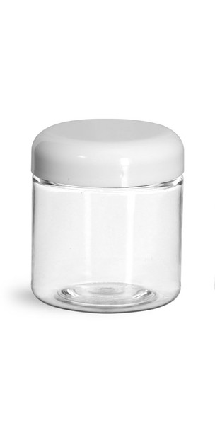 2 oz Clear Single Wall Plastic Jar with Your Choice of Lid