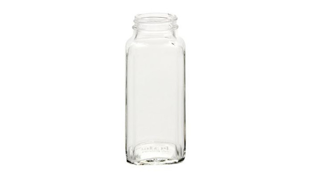8 oz Glass French Square Spice Jar with Stainless Steel Spice Dispenser cap