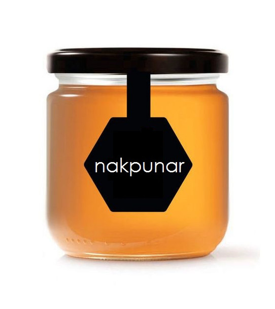 Nakpunar 12 oz honey jar with black lid