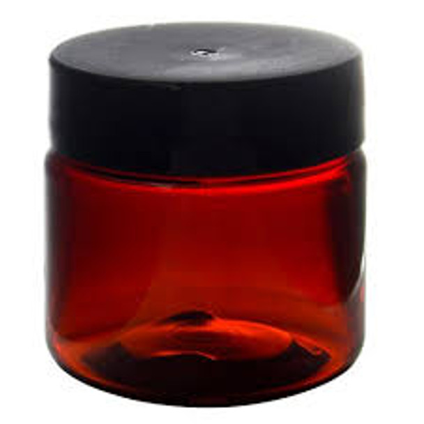 1 oz Amber Brown Single Wall Plastic Jar with Black Smooth Lid