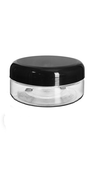 4 oz low profile Clear Plastic Jar with Black shiny, dome cap