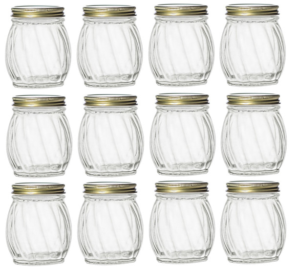 Twisted Glass Jar with Gold Lid