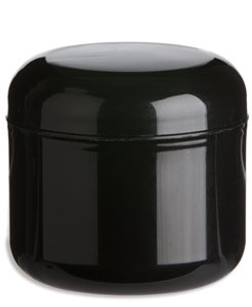 1 oz Black Double Wall Plastic Jar with Black Dome Lid