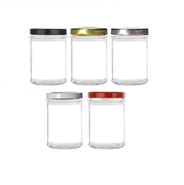 7.5 oz Mason, Apothecary Jar with Gold, Silver, Black, White or Red Lid