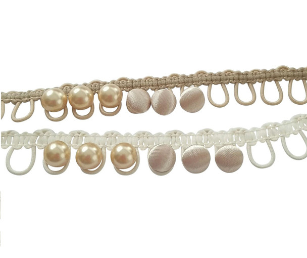 "12"" Champagne Adjacent Elastic Bridal Button Loops"