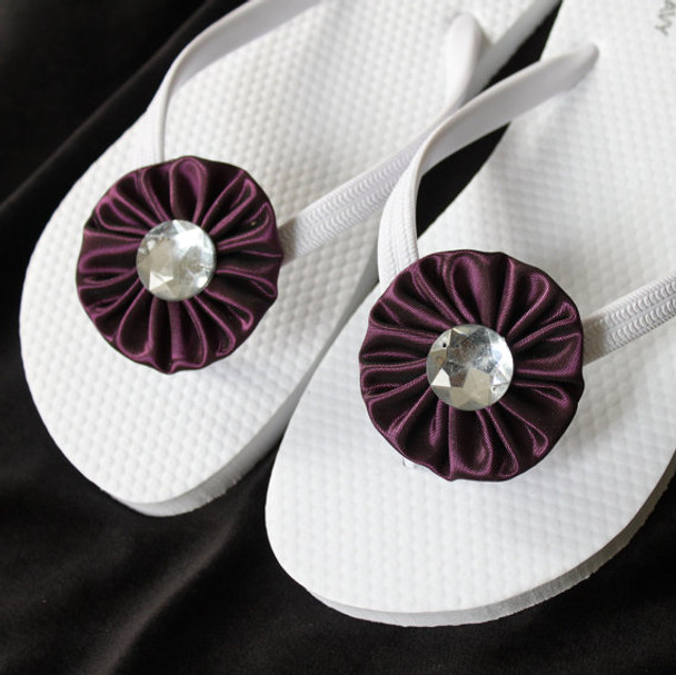 White and Eggplant Beach Wedding Flip Flops / Bridal Flip Flops