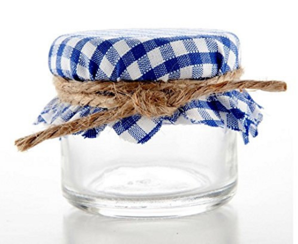 Navy and White Gingham Jar Covers
