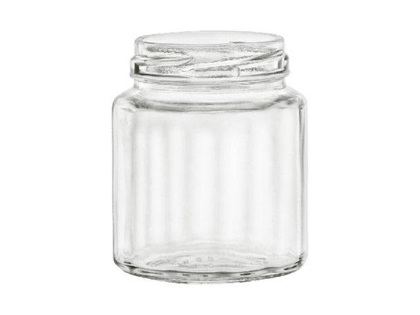 6 oz Faceted bevele glass jars with lids