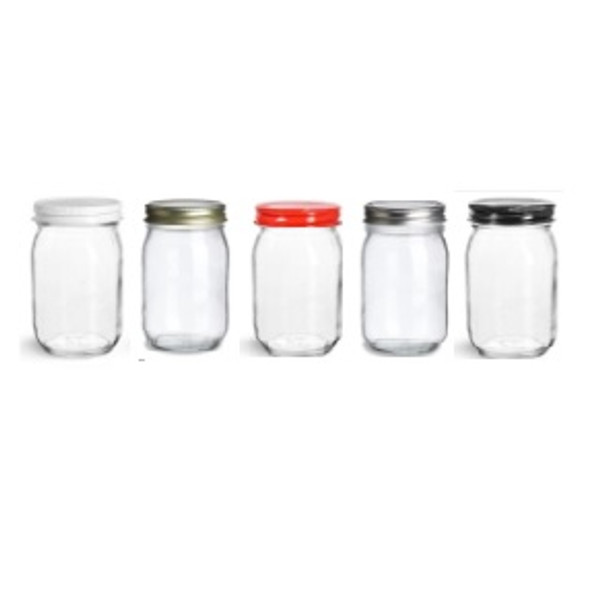 16 oz Mason with Different Color of Lid