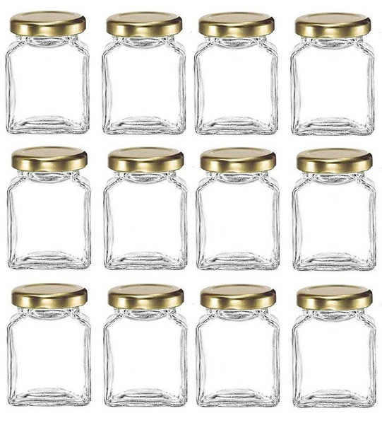 6 oz Cube Square Glass Jars with Gold Lids for Honey, Jam, Canning by Nakpunar