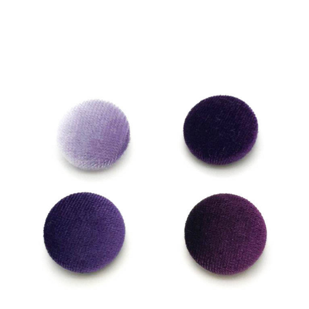 """Lot of 10, 5/8"""" (15 mm)  Shades of Purple Velvet Button"""