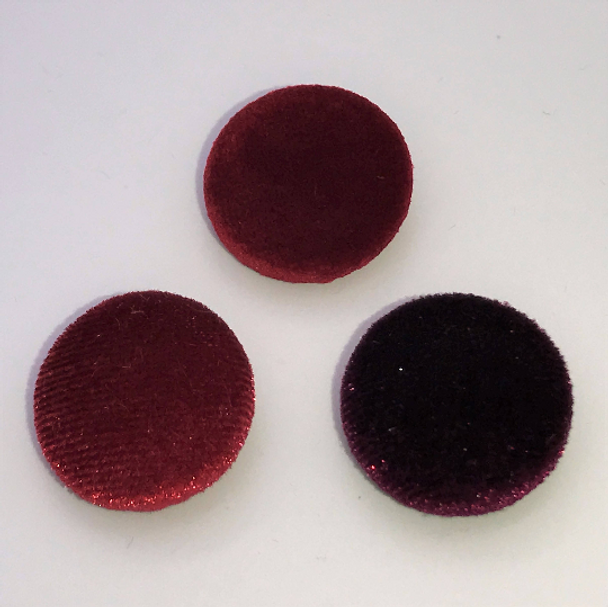 "Lot of 10, 5/8"" (15 mm)  Shades of Burgundy Velvet Button"