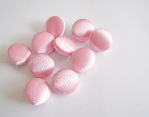 "10 pcs, Baby Pink Satin Buttons - Choose from 7 Different Size from 1/2"" to 2"""