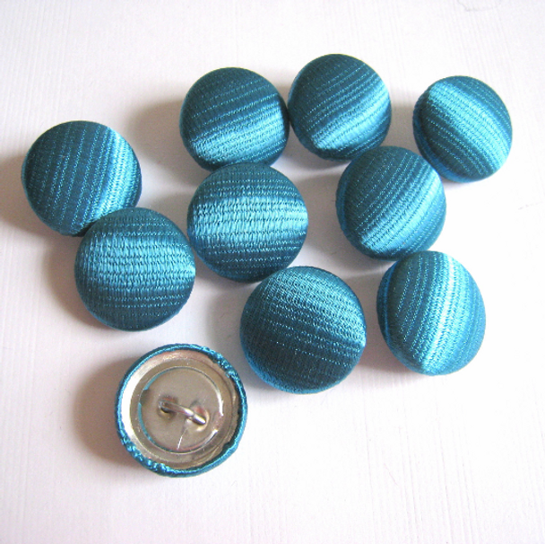 """Teal Satin Buttons in 3/4"""", 19mm, 30L"""