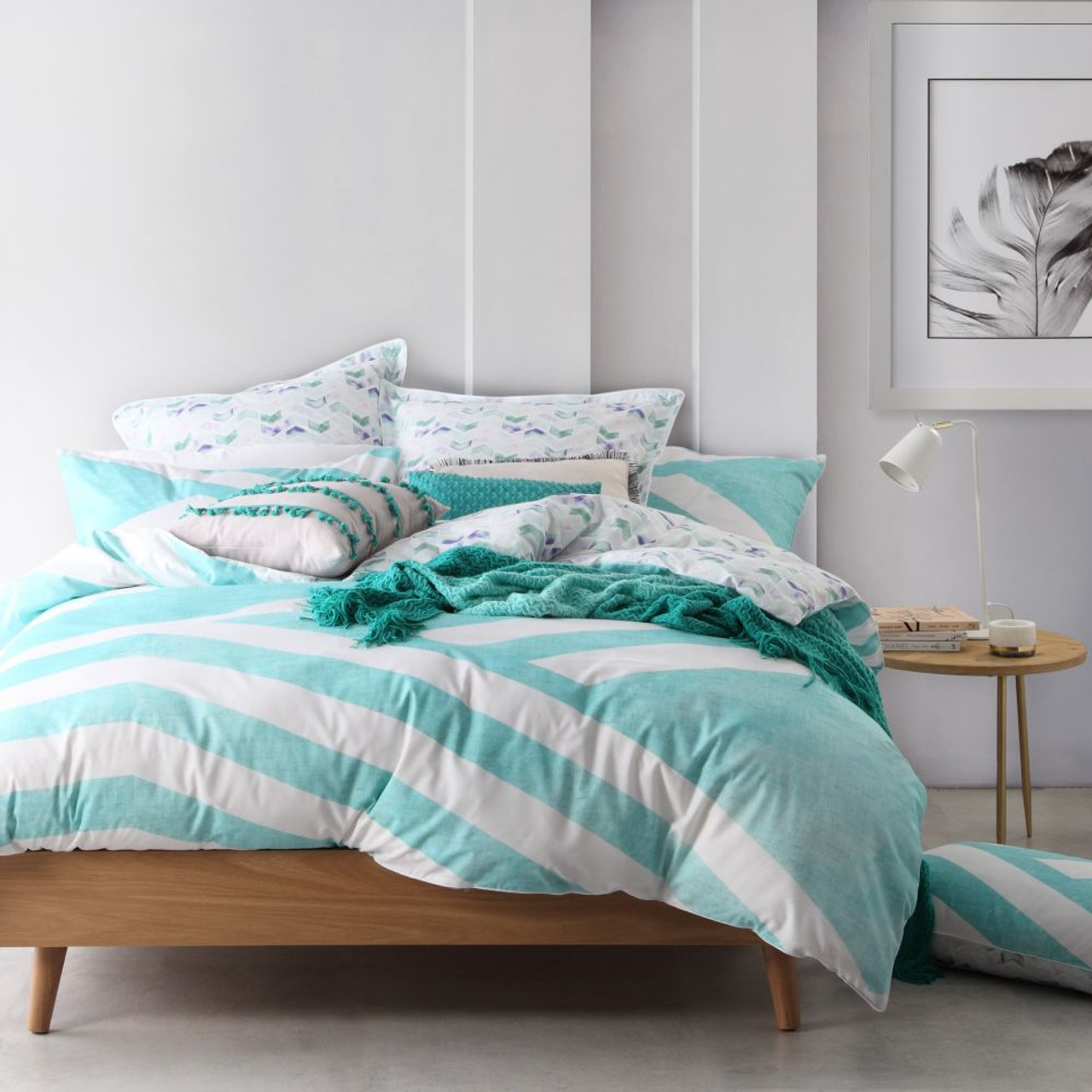 Calippo Teal King Quilt Cover Set By Logan Mason 5 Pce The Linen Gallery