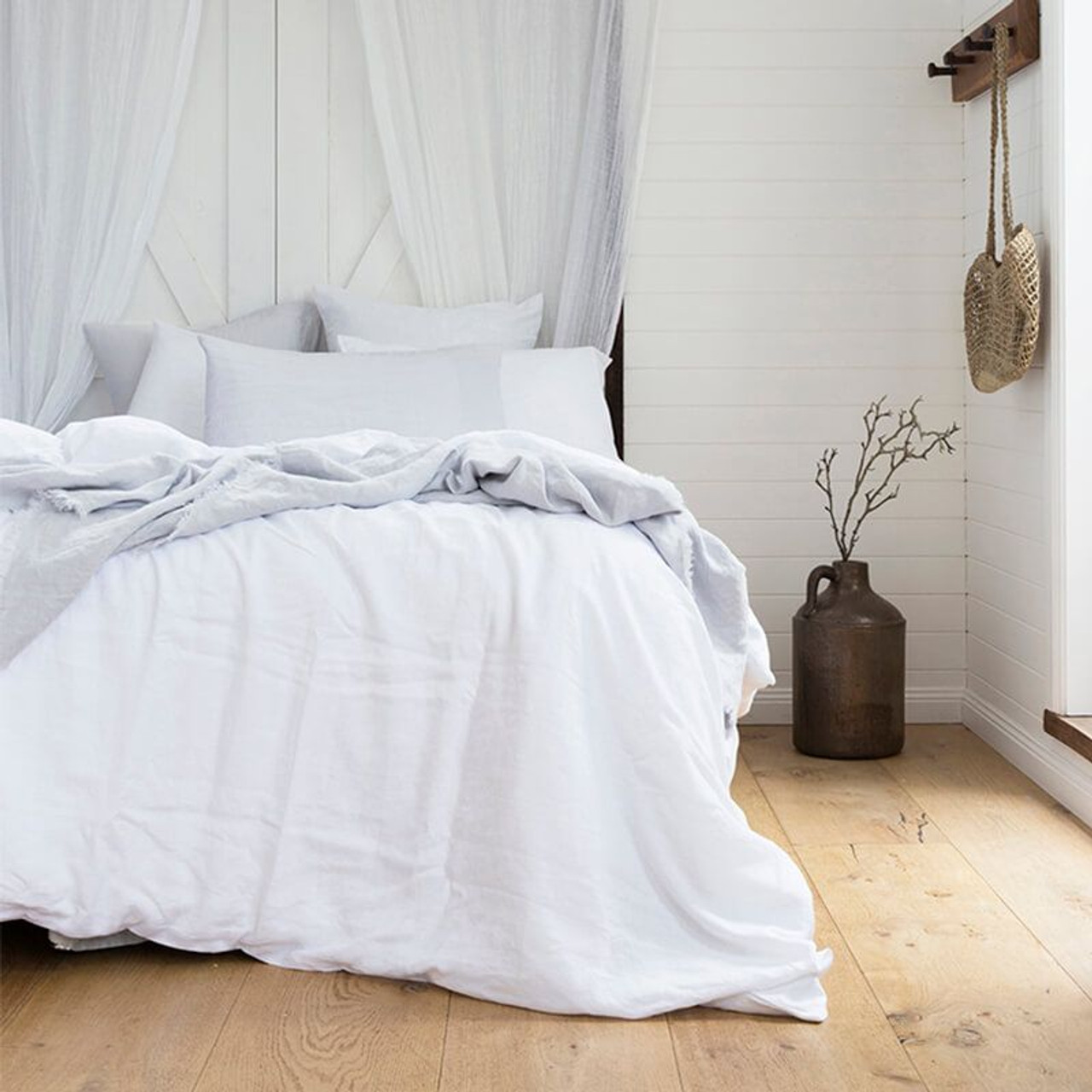 White Ivory French Flax 100 Linen Super King Quilt Cover Set