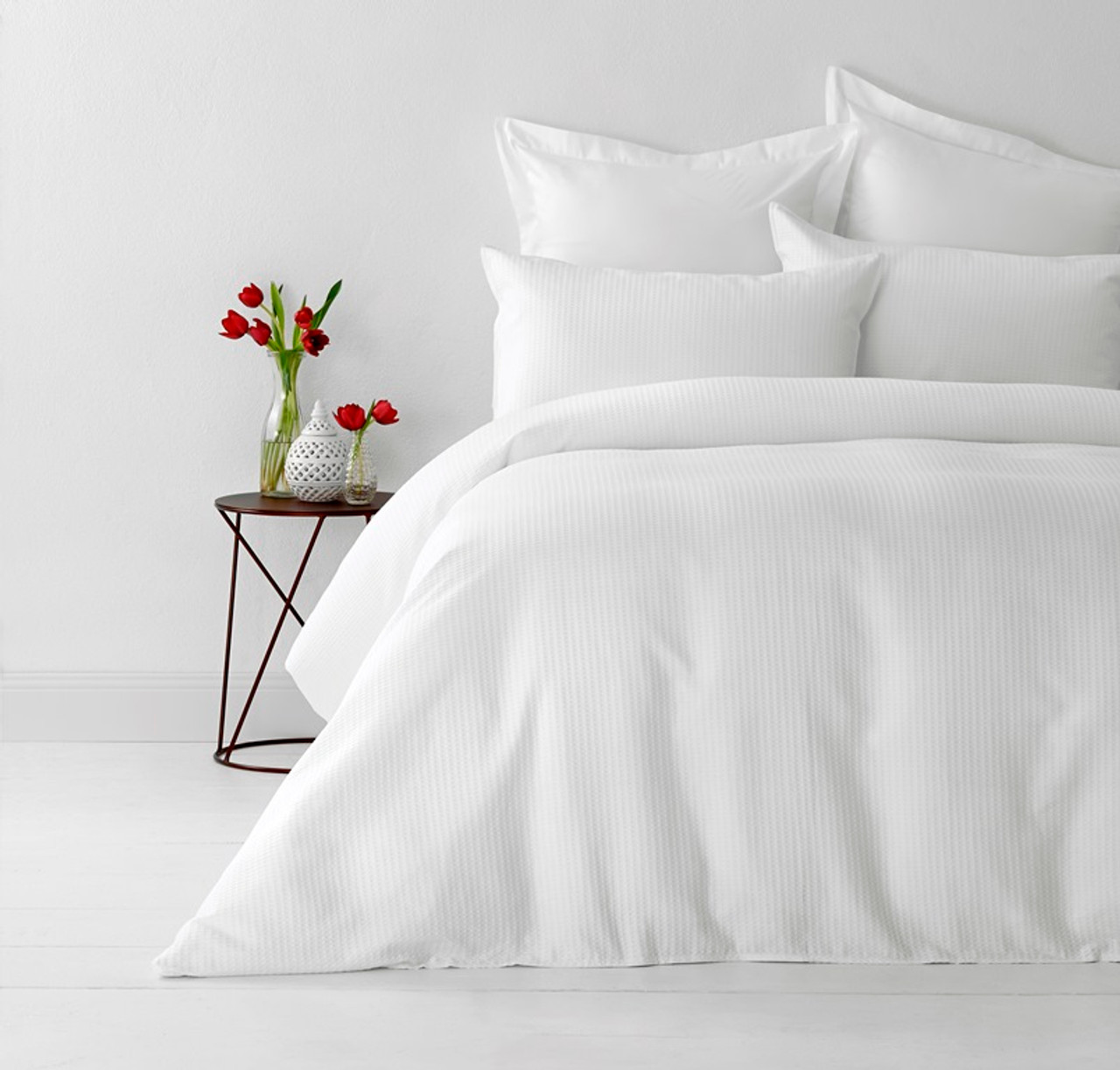 White Double Quilt Cover Set Cotton Waffle Weave By In 2 Linen