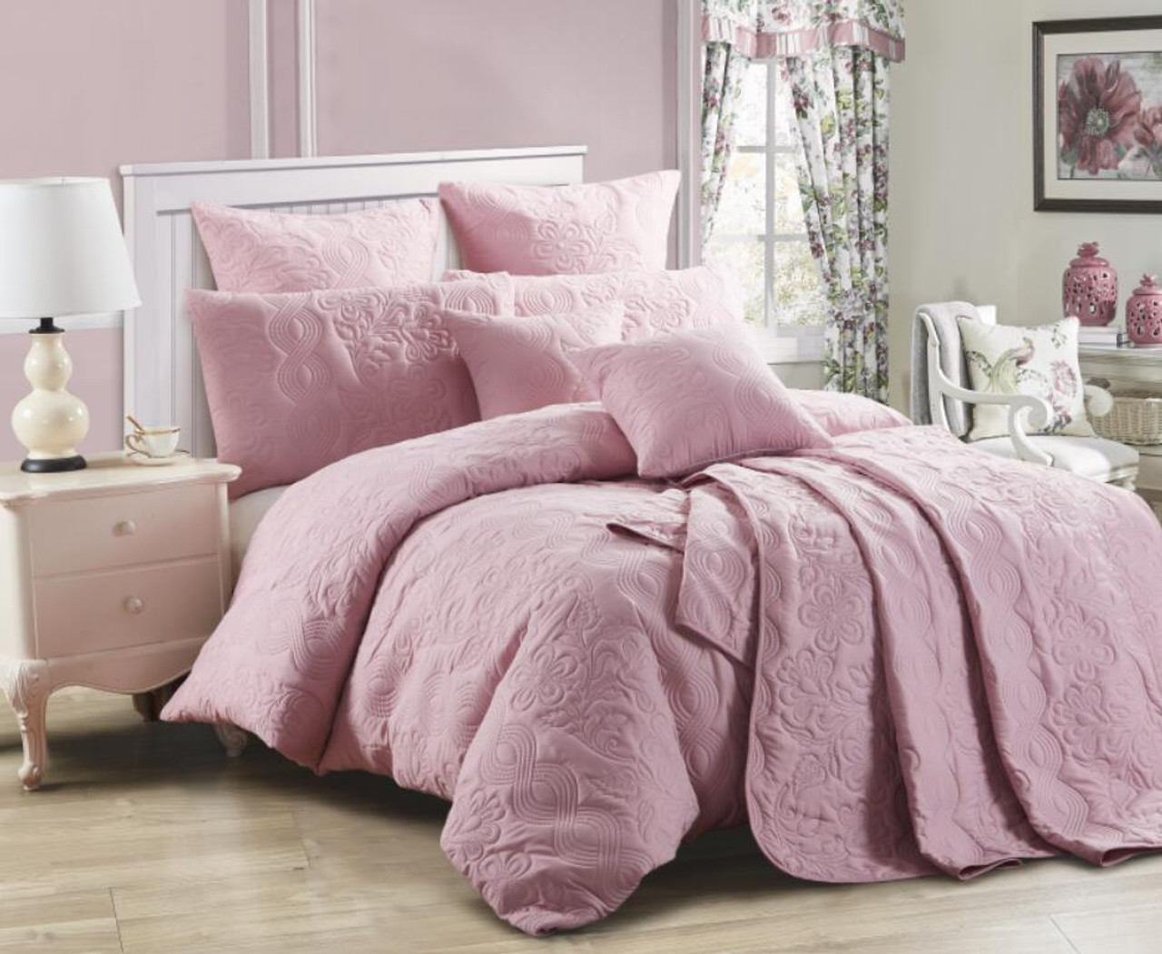 Dusty Pink Marguerite Queen King Coverlet Set 3 Pce