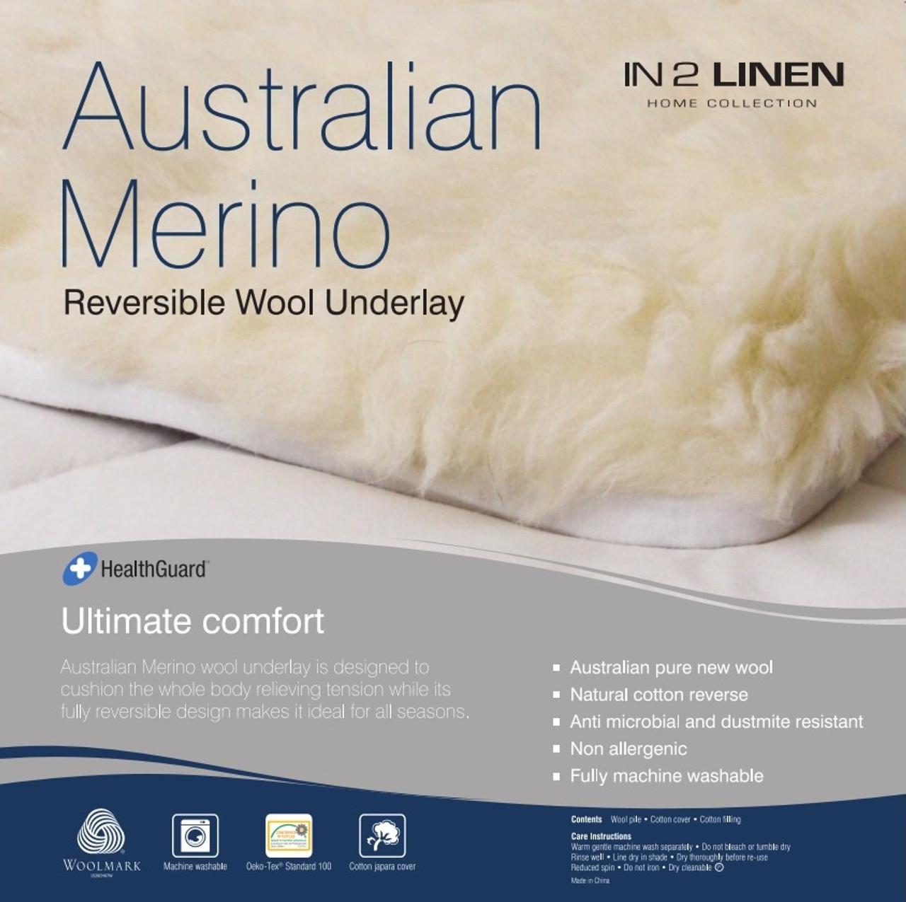 Woollen Underlay Double Bed Size Australian Merino Wool Reversible
