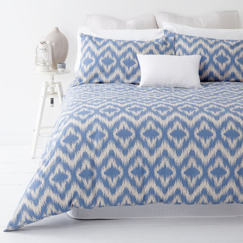 In 2 Linen Ikat Blue King Quilt Cover Set