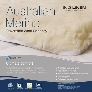 Long Single Bed Woollen Underlay Australian Merino Wool Reversible