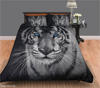White Tiger Single Size Quilt Cover Set