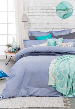 Bambury Charleston Blue Chambray Super King Quilt Cover Set - 5 Pce