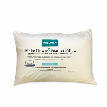 In 2 Linen White Duck Down and Feather Pillow